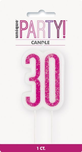 Glitz Pink Age 30 Candle